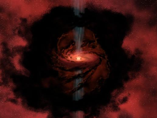 Bir yıldızın veya kahverengi cücenin oluşumunu gösteren resim. Merkezdeki yoğun gaz bulutu kendi çevresinde dönüp yoğunlaşmakta ve aynı zamöanda sıcaklığı da artmaktadır. Günümüz bilgisine göre yıuldızlar ve gezegenler bu şekilde oluşmuştur ki bunun doğru olduğunu gösteren onlarca gözlem yapılmıştır.
