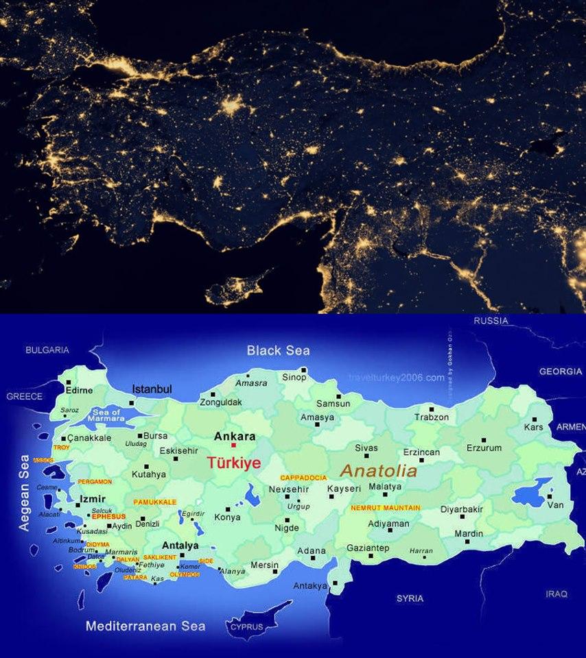 Ülkemizde Işık KirliliğiNASA'nın yer gözlem uyduları geceleyin de bu güzel dünyamıza bakıyorlar. 2012 yılında alınan ayırma gücü çok yüksek yer fotoğraflarını NASA'nın sayfasında görebilirsiniz. Ben aldığım bir dosyadan sadece ülkemizin kapladığı alanı kestim ve altına Türkiye haritasını koydum ki bulunduğunuz kentin ışık kirliliğini daha iyi farkedesiniz diye. Evet bu görüntüye baktığınız zamankent belediyelerimizi ışık kirliliğine boğdukları için alkışlamamız gerekiyor :)http://eoimages2.gsfc.nasa.gov/images/imagerecords/79000/79793/city_lights_africa_8k.jpg sayfasında bulunan fotoğrafta yerin gece tarafı çekilmiş ve ne güzel ki tam ortasında ülkemiz bulunuyor. 8192x8192 piksel boyutlarında olan sözkonusu bu fotoğrafta benim yaptığım gibi belirli bir bölgeyi kesseniz de görüntünün kalitesi çok iyi gözüküyor.Ben gökyüzündeki yıldızlarımı istiyorum, sizler ne istiyorsunuz bilmiyorum ama sanırım böyle giderse yakında hiç yıldız göremiyeceğiz. Unutmayalım 15 milyon insanın yaşadığı İstanbul'da en az 2000 tane görmemiz gerekirken sadece 25 yıldız gözlenebilmekte. (Prof.Dr. Ethem DERMAN)