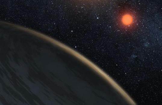 Kırmızı cüce çevresinde dolanan gezegendeki buzlu bölgelerin temsili resmi. (NASA)