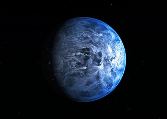 Ressam gözüyle mavi HD 189733b gezegeni. (NASA, ESA, M. Kornmesser)