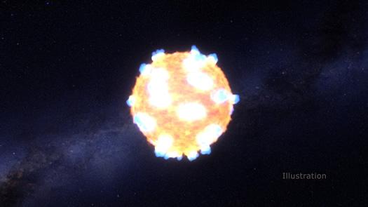 Ressam gözüyle dev yıldızın süpernova patlaması anı (NASA Ames, STScI/G. Bacon).